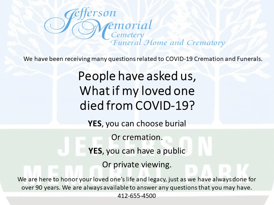 Jefferson Memorial Cemetery Funeral Home Crematory Pittsburgh Pa